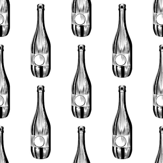 Ręcznie Rysowane Wzór Butelki Cydru. Tło Butelki Piwa Rzemieślniczego. Premium Wektorów