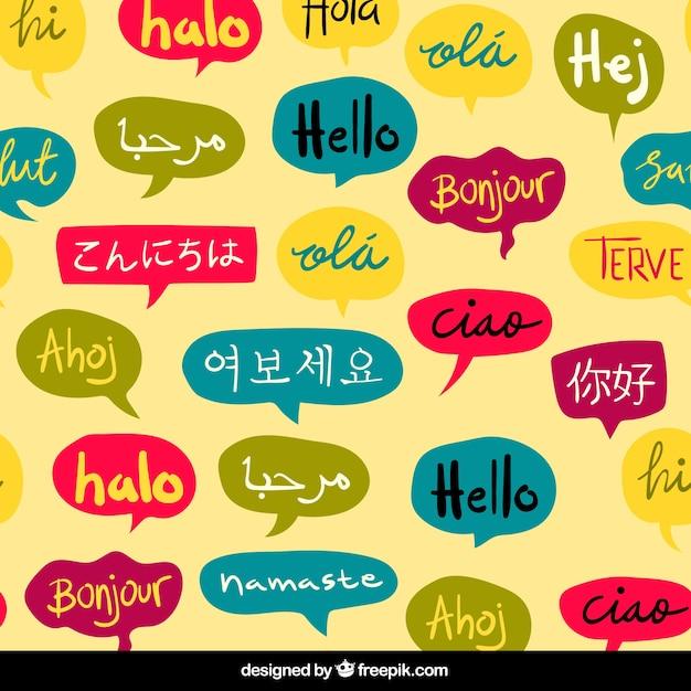 Ręcznie rysowane wzór cześć słowo w różnych językach Darmowych Wektorów