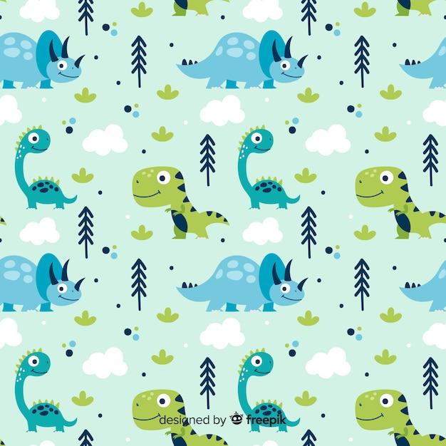Ręcznie Rysowane Wzór Dinozaura Premium Wektorów