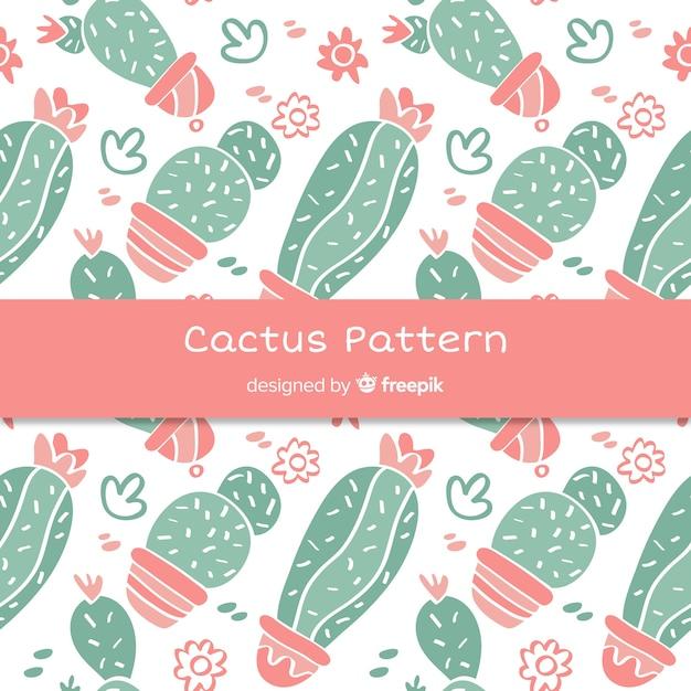 Ręcznie rysowane wzór kaktusa Darmowych Wektorów