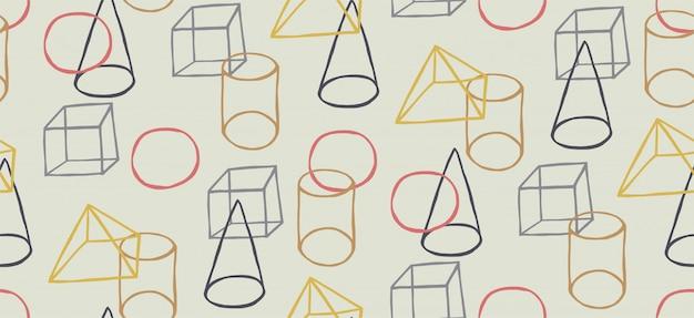 Ręcznie Rysowane Wzór W Stylu Memphis I Geometryczne Kształty Premium Wektorów