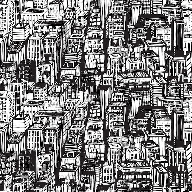 Ręcznie Rysowane Wzór Z Dużego Miasta Nowy Jork. Vintage Ilustracja Z Architekturą Nowego Jorku, Drapacze Chmur, Megapolis, Budynki, Centrum Miasta. Premium Wektorów