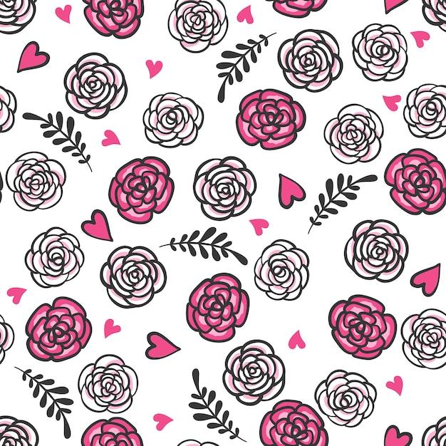 Ręcznie Rysowane Wzór Z Róż I Serc. Premium Wektorów