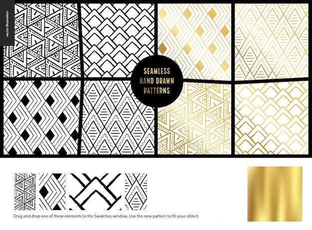 Ręcznie Rysowane Wzory - Biały Premium Wektorów