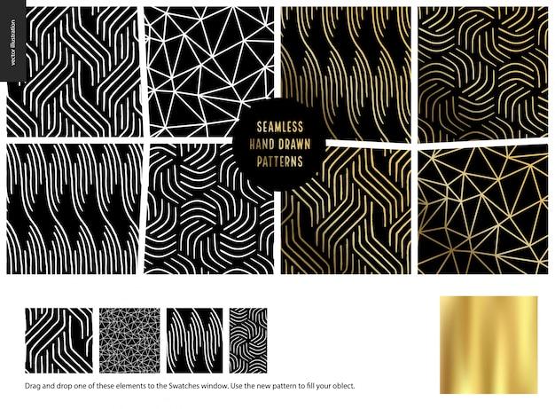 Ręcznie rysowane wzory - czarny Premium Wektorów