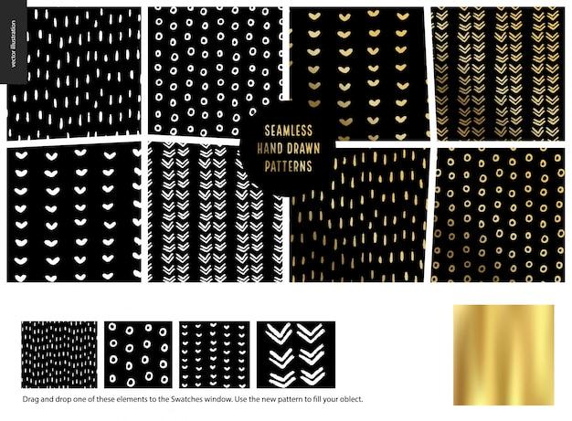 Ręcznie Rysowane Wzory Kolekcji Premium Wektorów