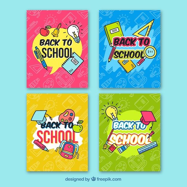 Ręcznie rysowane z powrotem do kolekcji kart szkolnych Darmowych Wektorów