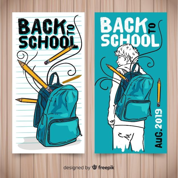 Ręcznie rysowane z powrotem do szkolnych banerów Darmowych Wektorów