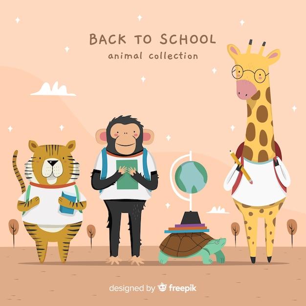 Ręcznie rysowane z powrotem do szkoły zwierząt Darmowych Wektorów