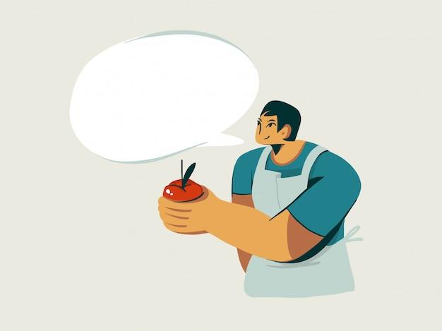 Ręcznie Rysowane Zapasów Abstrakcyjna Graficzna Ilustracja Z Charakterem Sprzedawcy Facet Salles świeże Organiczne Domowe Jabłko Na Białym Tle. Premium Wektorów