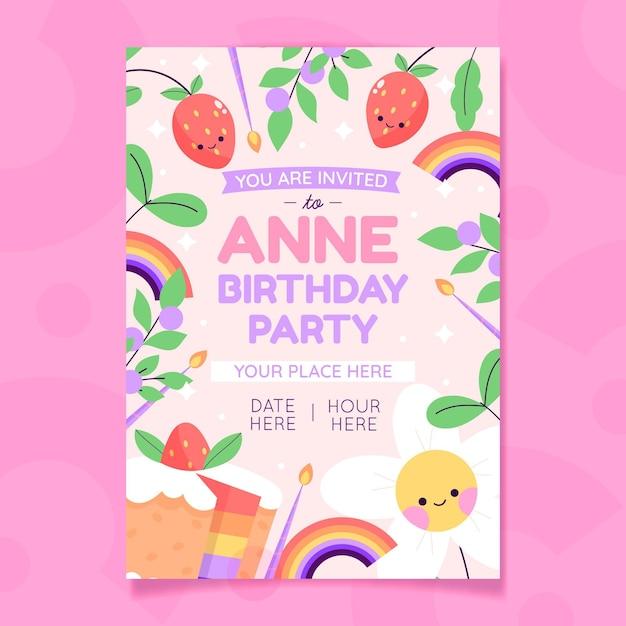 Ręcznie Rysowane Zaproszenie Na Urodziny Darmowych Wektorów
