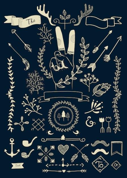 Ręcznie rysowane zbiory wektorów doodle boho Darmowych Wektorów