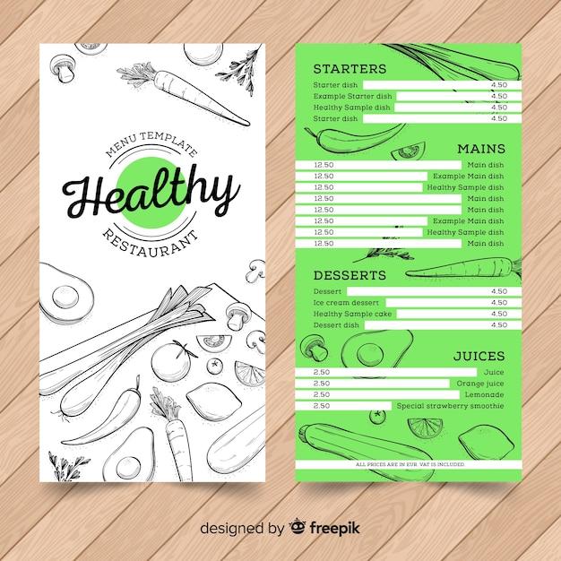 Ręcznie rysowane zdrowy szablon menu Darmowych Wektorów