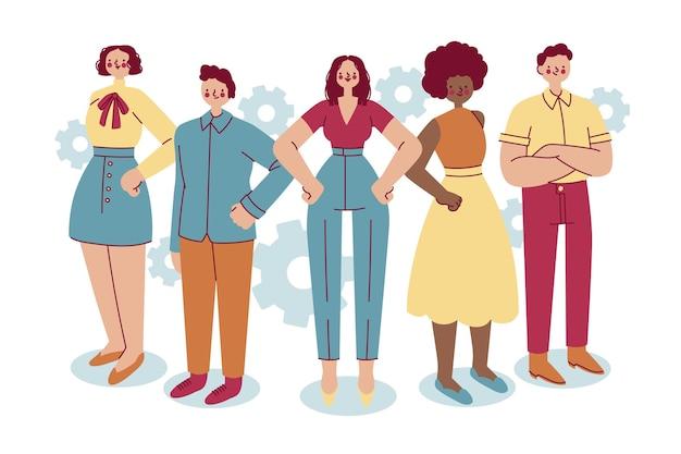 Ręcznie Rysowane żeński Lider Zespołu W Grupie Ludzi Darmowych Wektorów