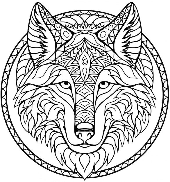 Ręcznie rysowane zentangle wilk głowy na stronie kolorowanka dla dorosłych i dzieci Premium Wektorów