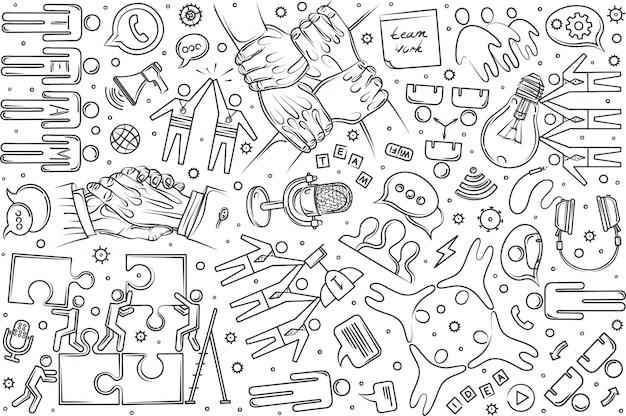 Ręcznie Rysowane Zespół Zestaw Doodle Tło Premium Wektorów