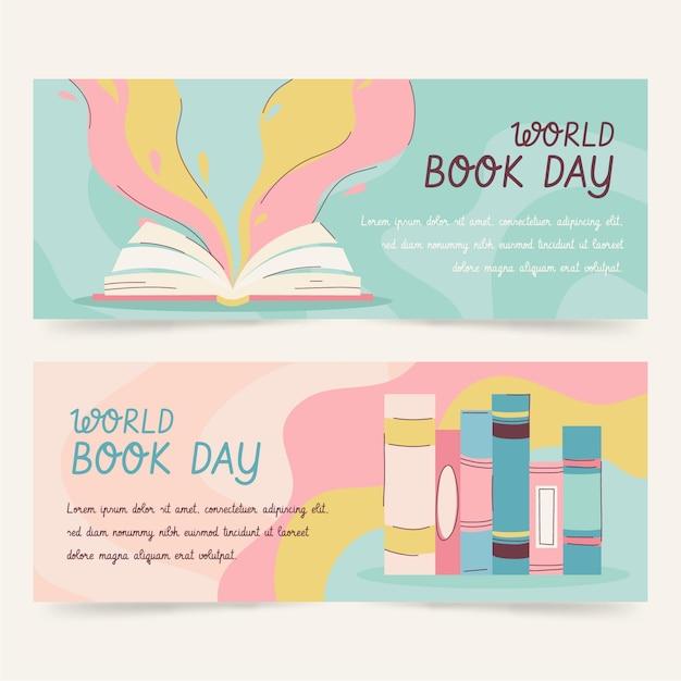 Ręcznie Rysowane Zestaw Banerów światowego Dnia Książki Darmowych Wektorów
