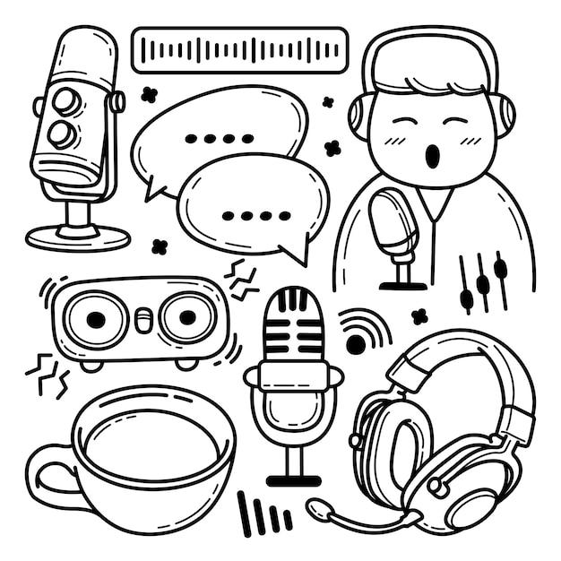 Ręcznie Rysowane Zestaw Doodle Podcastów Premium Wektorów