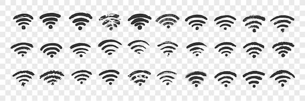Ręcznie Rysowane Zestaw Doodle Znak Wifi Premium Wektorów