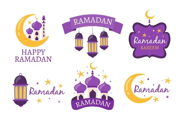 Ręcznie Rysowane Zestaw Etykiet Ramadan Darmowych Wektorów