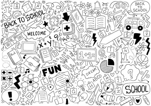 Ręcznie rysowane zestaw ikon szkoły ozdoby w tle Premium Wektorów