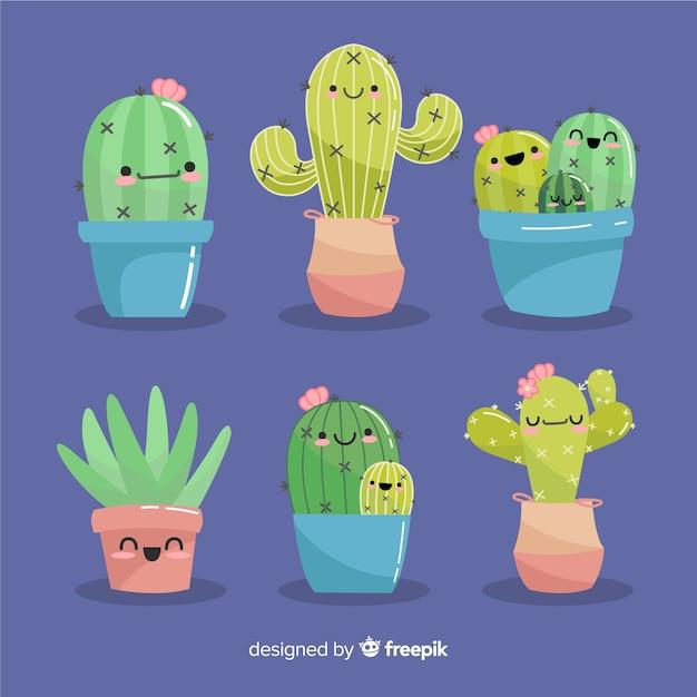 Ręcznie rysowane zestaw kawaii kaktus Darmowych Wektorów