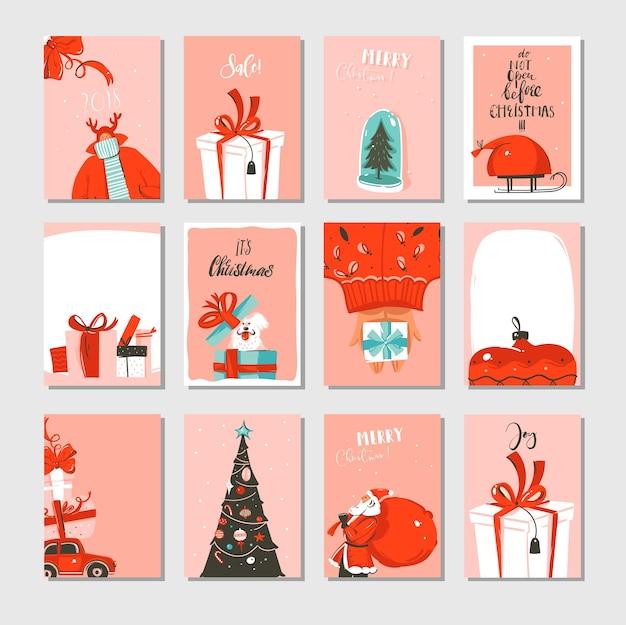 Ręcznie Rysowane Zestaw Kolekcja Kart Kreskówka Streszczenie Duży Czas Wesołych świąt I Nowy Rok Premium Wektorów