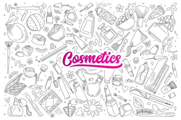 Ręcznie Rysowane Zestaw Kosmetyków Gryzmoły Z Napisem Premium Wektorów