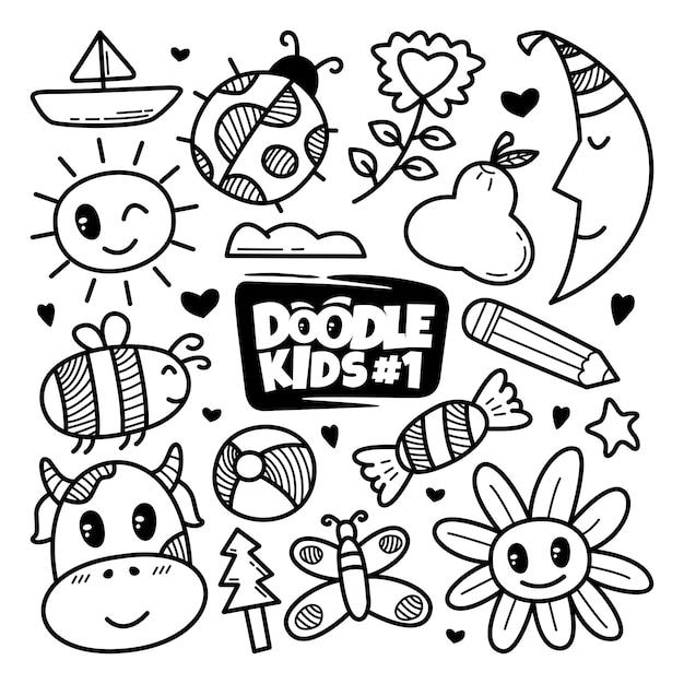 Ręcznie Rysowane Zestaw ładny Doodle Premium Wektorów