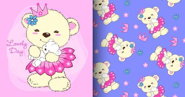 Ręcznie rysowane zestaw ładny wzór niedźwiedzia Premium Wektorów