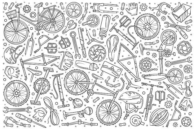 Ręcznie Rysowane Zestaw Mechanik Rowerowy Doodle Premium Wektorów