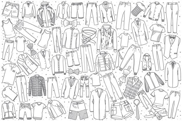 Ręcznie Rysowane Zestaw Odzieży Męskiej Premium Wektorów
