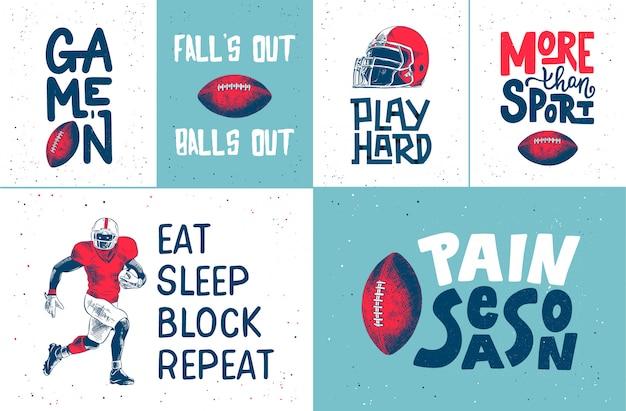 Ręcznie Rysowane Zestaw Plakat Futbolu Amerykańskiego Premium Wektorów