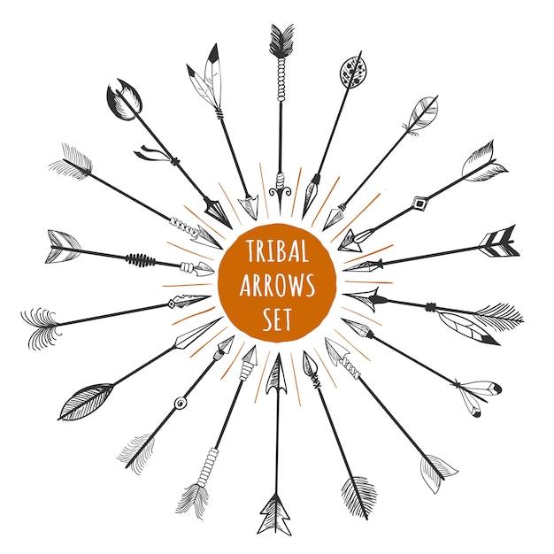 Ręcznie rysowane zestaw plemiennych strzałki Premium Wektorów