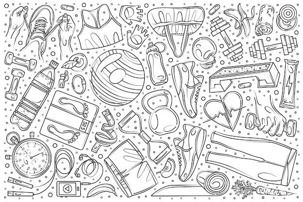 Ręcznie rysowane zestaw trening fitness doodle Premium Wektorów