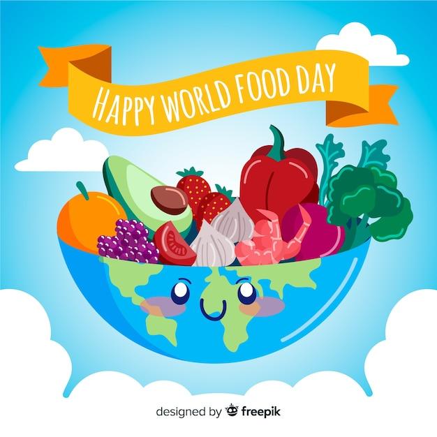 Ręcznie rysowane ziemi jako miska na zdrowe jedzenie Darmowych Wektorów