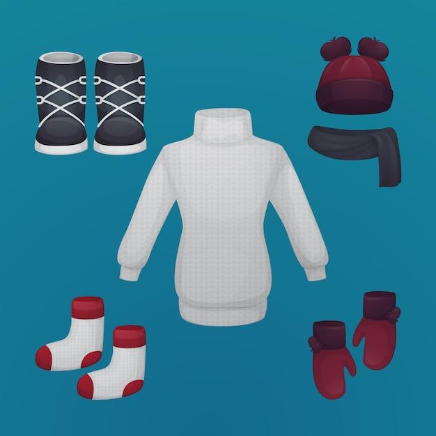 Ręcznie Rysowane Zimowe Ubrania I Niezbędne Artykuły Darmowych Wektorów