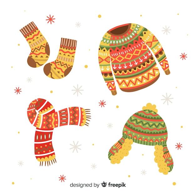 Ręcznie rysowane zimowe ubrania i niezbędne rzeczy Darmowych Wektorów