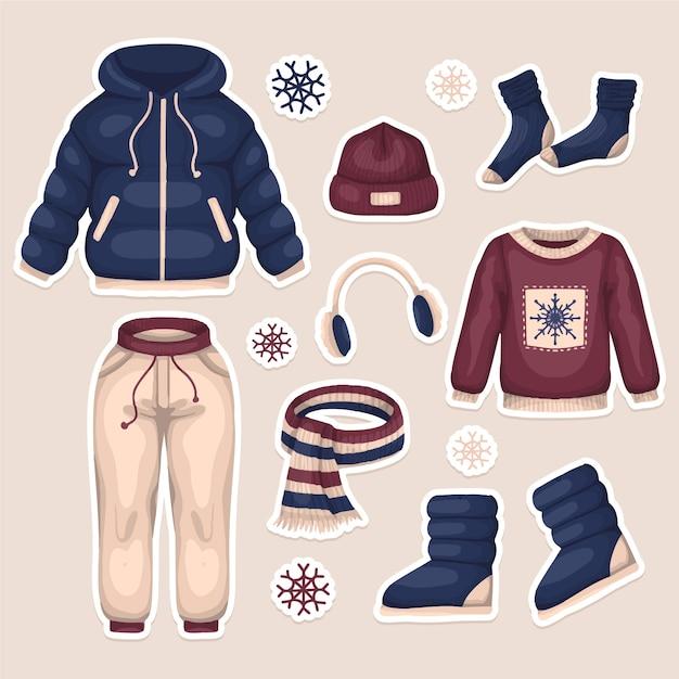 Ręcznie Rysowane Zimowe Ubrania Paczka Darmowych Wektorów