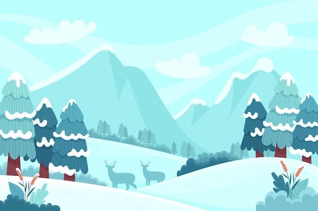 Ręcznie Rysowane Zimowy Krajobraz Darmowych Wektorów