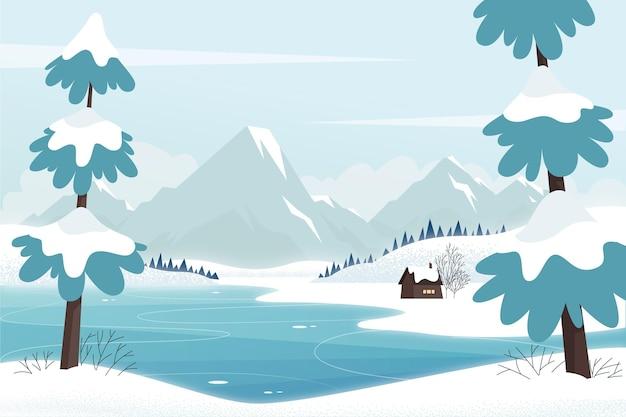 Ręcznie Rysowane Zimowy Krajobraz Premium Wektorów