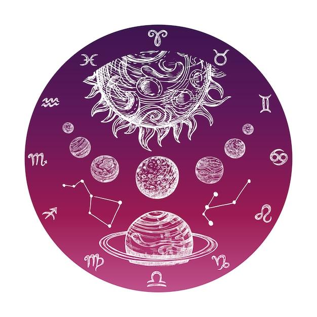 Ręcznie Rysowane Znaki Zodiaku I Układ Planetarny Premium Wektorów