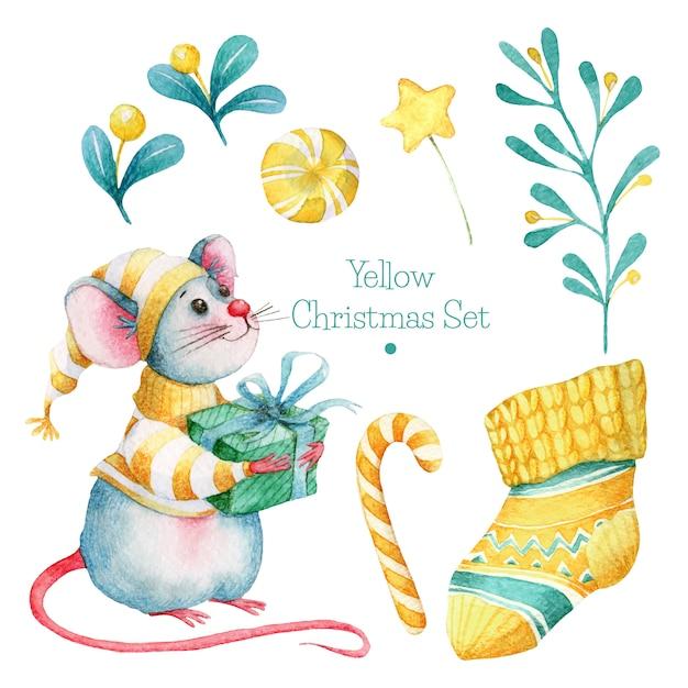 Ręcznie rysowane żółty zestaw świąteczny Premium Wektorów