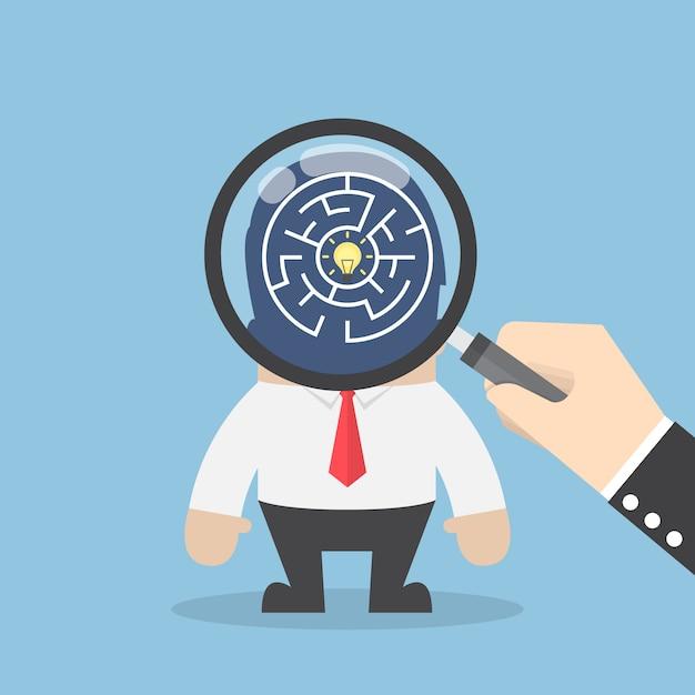 Ręcznie Użyć Szkła Powiększającego, Aby Wyszukać Pomysł W Głowie Biznesmena Premium Wektorów