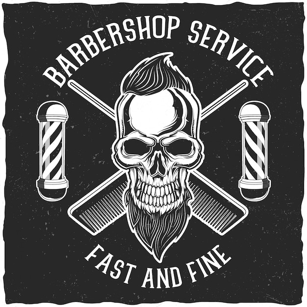 Ręcznie Wykonane Plakaty Lub Koszulki Ze Sprzętem Fryzjerskim I Czaszką Hipster Z Brodą I Fryzurą. Premium Wektorów