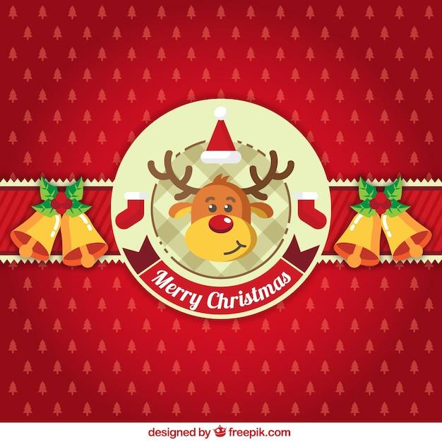 Red christmas tle z ornamentami i reniferów Darmowych Wektorów