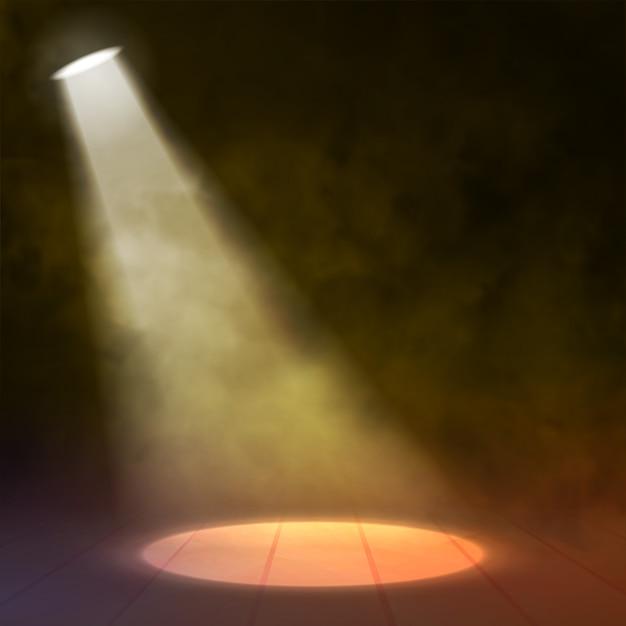 Reflektor floodlight oświetla drewnianą scenę z okręgiem Premium Wektorów