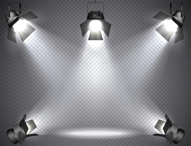 Reflektory z jasnymi światłami na przezroczystych Premium Wektorów