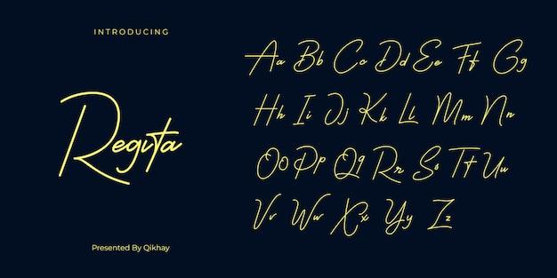 Regita signature font Premium Wektorów