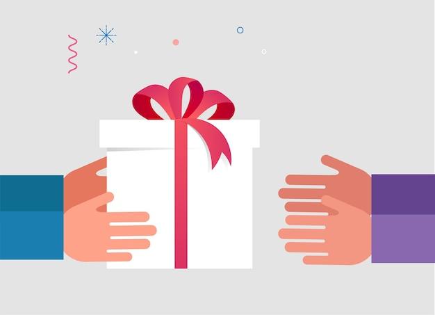 Ręka Dając Otwarte Białe Pudełko Z Czerwoną Wstążką Premium Wektorów